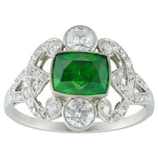 An Edwardian Demantoid Garnet And Diamond Ring