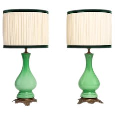 Napoleon III Pair Of French Lamps In Green Opaline Glass And Golden Brass Base