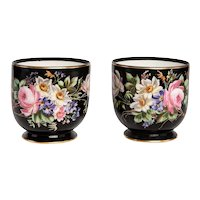 Napoleon II Pair French Porcelaine  Cachepots Hand Painted