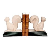 Art Deco Pair Of Bookends In The Shape Of Squirrels In Porcelain Leather France