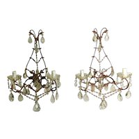 Louis XVI Style Italian Venetian Pair of Sconces with Crystals 1890