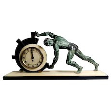 Art Deco Table Clock With Huge Bronze Statue France 1930