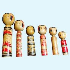 """Edo Style Japanese Dolls """"Kokeshi"""", set of 6 1900-1930"""