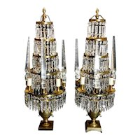 Louis XVI Style French Majestic Pair of Crystal and Bronze Girandoles 1890