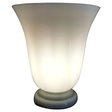 Vintage White Opaline Glass Lamp France 1950