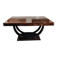 Art Deco Extendable Dining Table In Zebrano Wood France, 1920