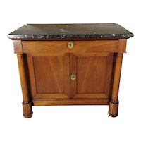 Empire French Sideboard With Cherrywood And Black Marble 1850