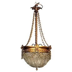 Empire Style Crystal and Golden Brass Montgolfier Chandelier, France