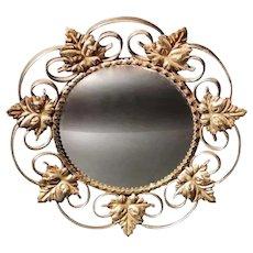 Vintage Mirror in Gilded Metal with Vine Leaves France, 1940