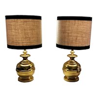 Italian Vintage Pair Of Table Lamps In Polished Brass 1965-1970 (No Lampshades)
