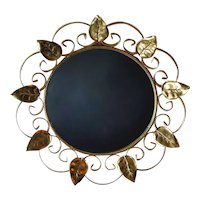 Vintage Mirror in Gilded Metal with Mulberry Leaves, France, 1940