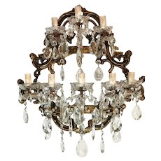 Maria Teresa Style Italian Venetian Big Crystal Sconce 8 Lights