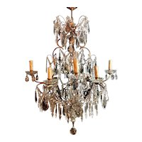 Louis XV Venetian Style Italian Chandelier In Bronze With Cut Crystals 1880-1900