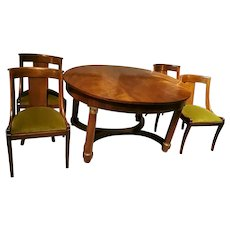 Empire Style Extendable French Dining Table in Mahogany-Burr with Four Chairs