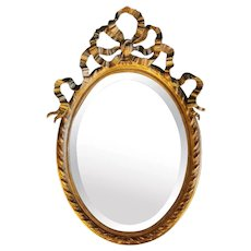Napoleon III French Golden Leaf Oval Mirror 1853