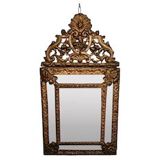 Napoleon III French Wall Mirror with Brass Inserts Worked in Repoussé 1852