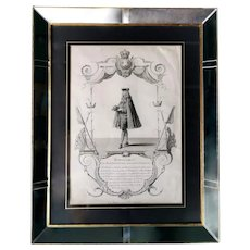 Antique Print with Mirrors and Gold Frame Depicting Marshal V.M. D'Estrées 1785
