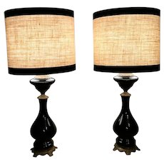 Napoleon III French Pair Of Black Opaline Glass Oil Lamps With Lampshade And Brass Decoration