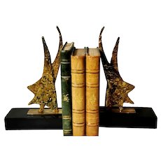 Bookends in Brass and Black Marble in the Shape of a Stylized Star of David 20th France