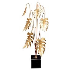 Italian Brass Plant Mounted On Marquinia Marble 2010