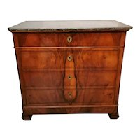 Louis Philippe French Chest of Drawers in Walnut-Burr and Marble Top 1830
