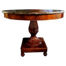 Charles X French Solid Mahogany Round Table with Dark Emperador Marble Top 1824
