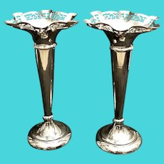 Victorian PairOf Trumpet Vases In Silver Plated EPNS England