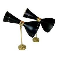 Pair Of 50's Brass Italian Appliques Style Stilnovo Diabolo Model