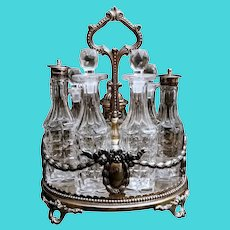 Victorian Cruet in Silver Plate with Important Crest Elkington, 1851