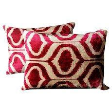 Pillows (Set.2 Pieces) Handmade In Ikat Fabric Uzbekistan 1990