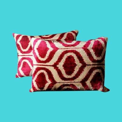 Pillows (Set.2 Pieces) Handmade In Ikat Fabric Uzbekistan 1990