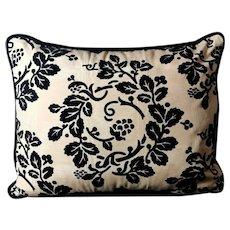 Pillow Hand Made In Dedar Moire' Fabric Velvet On The Back Italy 60s