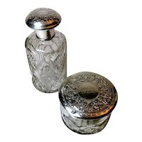 Pair of Bottle and Vanity Box Cut Crystal and Chiseled Silver, Spain, 1920-1930