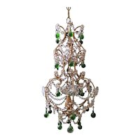 Florentine Craftsmanship Chandelier with Glass Wood and Iron Gilded 1935