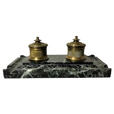Napoleon III French Inkwell in Bronze And Marble 1848-1850