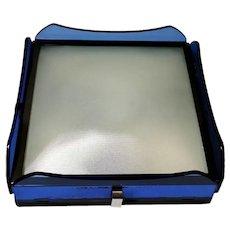 Fontana Arte for Veca Italian Blue Glass Ceiling Lamp 1960's