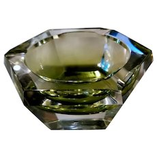 Val Saint Lambert Hexagonal Ashtray in Green Shaded Crystal 1960's