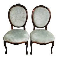 Napoleon III French Pair of Carved Mahogany Bedroom Chairs