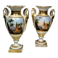 Porcelain de Paris Pair of Hand Painted Vases Napoleon III France 1870
