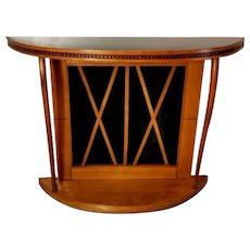Osvaldo Borsani Style Italian Cherrywood Console Table with Black Glass, 1960
