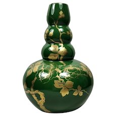 Art Deco France Green Enameled Terracotta Vase with Pure Gold Decorations 1949