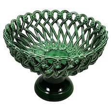 Pichon French Green Glazed Terracotta Ceramic Table Centerpiece, 1950
