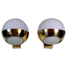Stilnovo Style Italian Pair of Brass Wall Sconces and Glass Spheres Opaline 1960