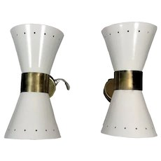 Stilnovo Style Model Diabolo Pair Italian White Brass Sconces 1960
