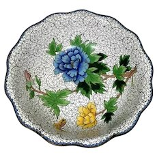 China Enameled Cloisonné Bowl with Blue and Yellow Peonies , 1949-1950