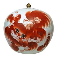 Qing Dynasty Chinese Round Porcelain Ginger Jar with Lid Painted With Foo Dog