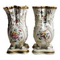 Napoleon III Porcelain de Paris French Pair of Vases, 1854