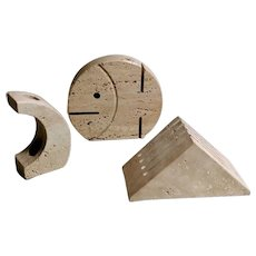 F.lli Mannelli Travertine Italian Desk Set Brutalist Style, 1970