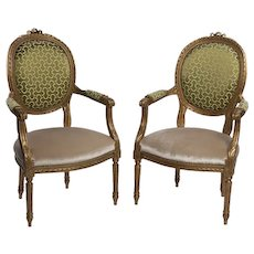 Louis XVI Style French Golden Wood Armchairs 1870