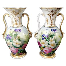 Napoleon III Porcelain de Paris French Pair of Vases Hand Painted